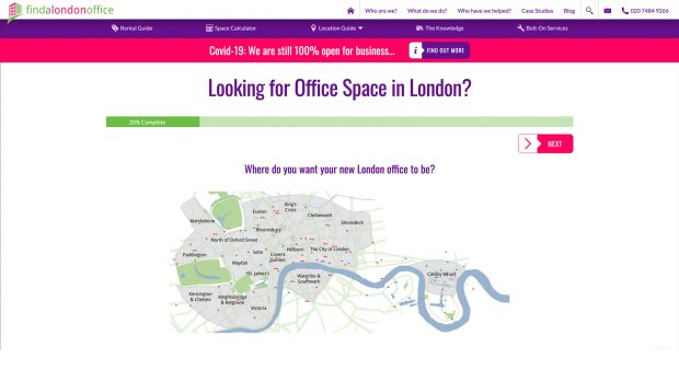 Screen Capture of Find a London Office