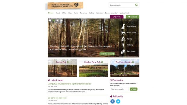 Screen Capture of Horsell Common Preservation Society
